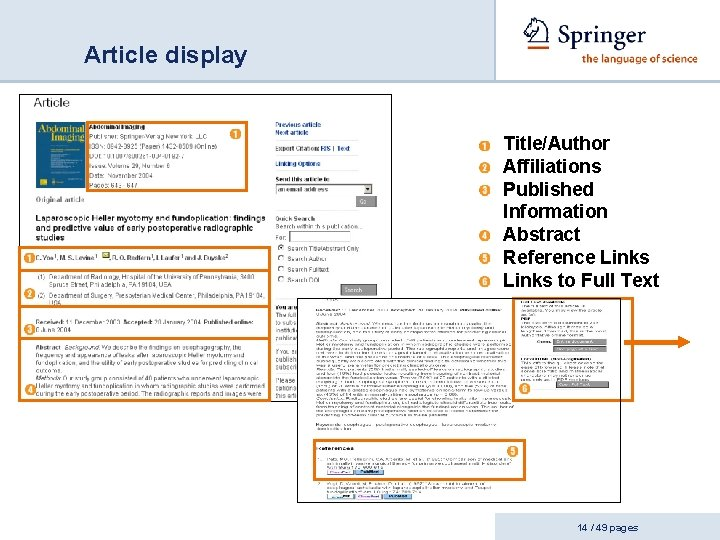 Article display Title/Author Affiliations Published Information Abstract Reference Links to Full Text 14 /