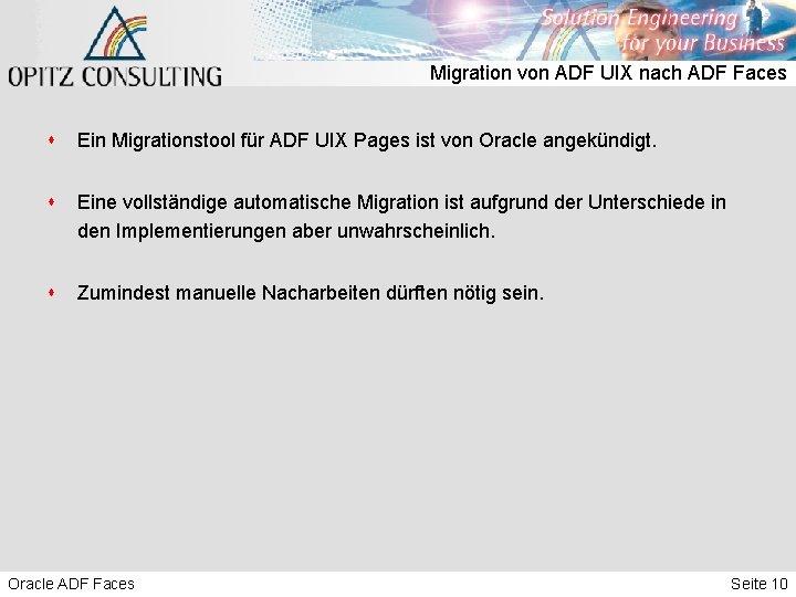 Migration von ADF UIX nach ADF Faces s Ein Migrationstool für ADF UIX Pages