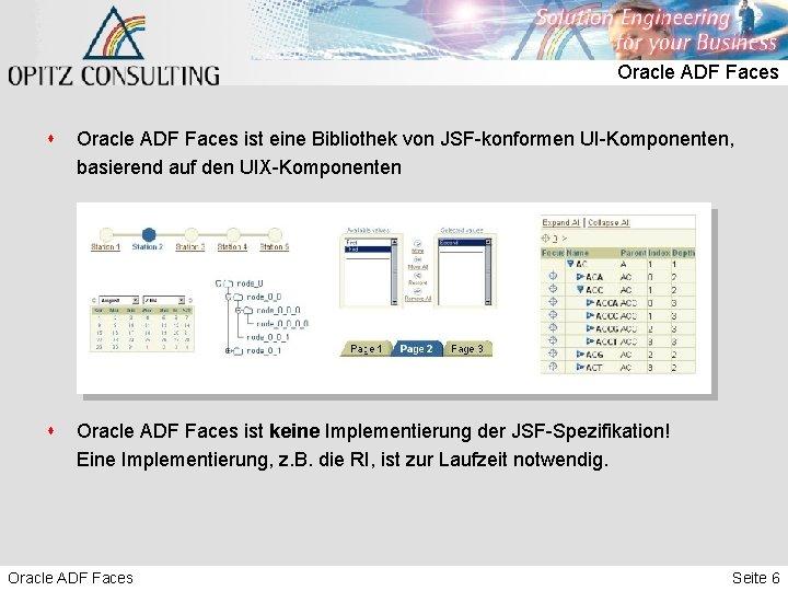 Oracle ADF Faces s Oracle ADF Faces ist eine Bibliothek von JSF-konformen UI-Komponenten, basierend