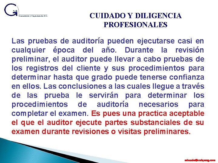 CUIDADO Y DILIGENCIA PROFESIONALES Las pruebas de auditoría pueden ejecutarse casi en cualquier época
