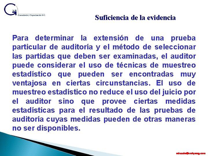 Suficiencia de la evidencia Para determinar la extensión de una prueba particular de auditoría