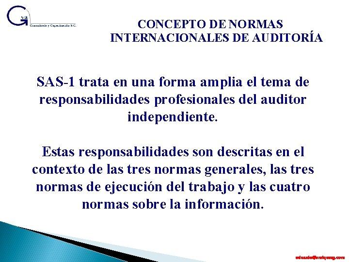CONCEPTO DE NORMAS INTERNACIONALES DE AUDITORÍA SAS-1 trata en una forma amplia el tema