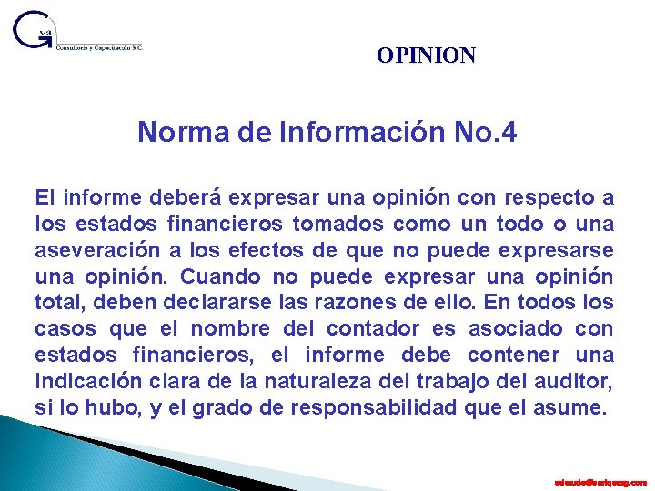 OPINION Norma de Información No. 4 El informe deberá expresar una opinión con respecto