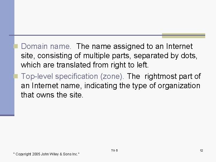 n Domain name. The name assigned to an Internet site, consisting of multiple parts,
