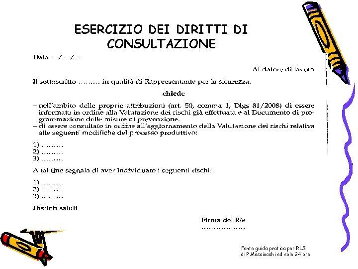 ESERCIZIO DEI DIRITTI DI CONSULTAZIONE Fonte guida pratica per RLS di P. Masciocchi ed