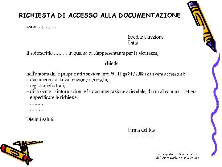 RICHIESTA DI ACCESSO ALLA DOCUMENTAZIONE Fonte guida pratica per RLS di P. Masciocchi ed