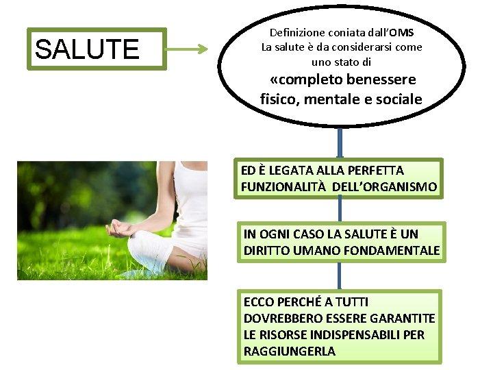 SALUTE Definizione coniata dall'OMS La salute è da considerarsi come uno stato di «completo