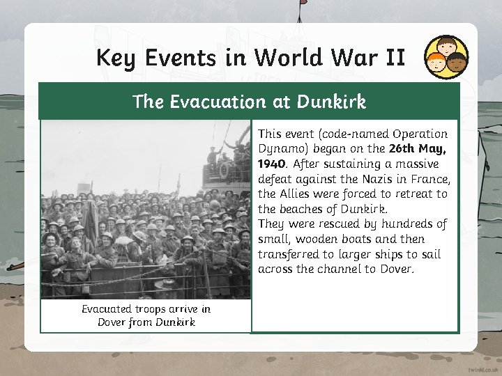 Key Events in World War II The Evacuation at Dunkirk This event (code-named Operation