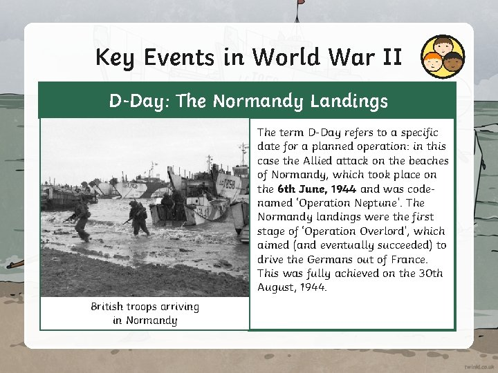 Key Events in World War II D-Day: The Normandy Landings The term D-Day refers