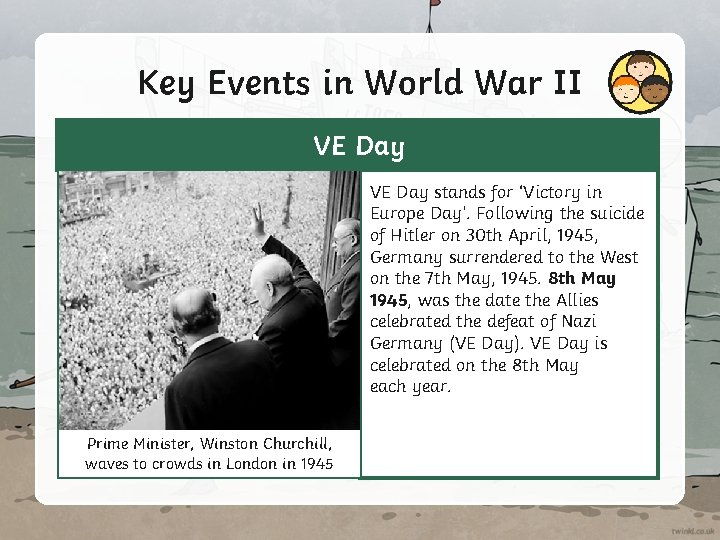 Key Events in World War II VE Day stands for 'Victory in Europe Day'.