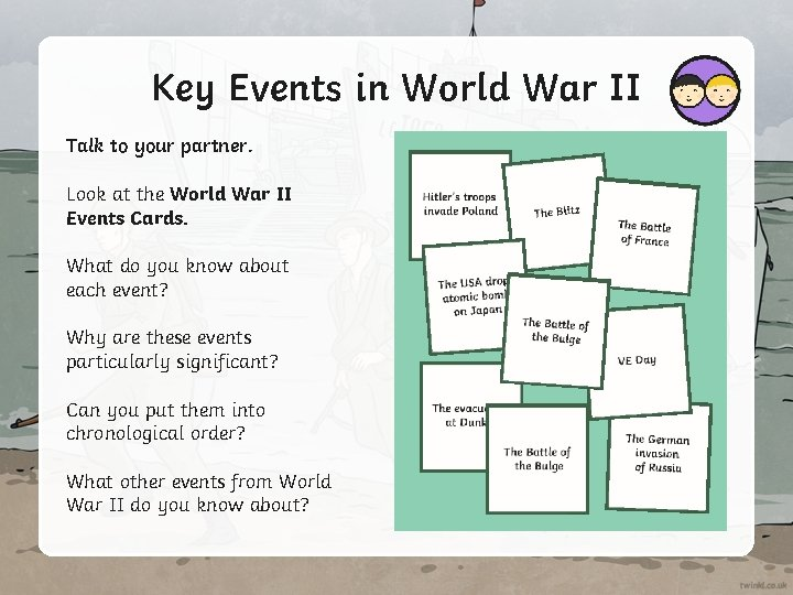 Key Events in World War II Talk to your partner. Look at the World