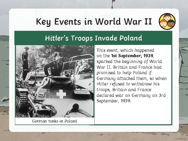 Key Events in World War II Hitler's Troops Invade Poland This event, which happened