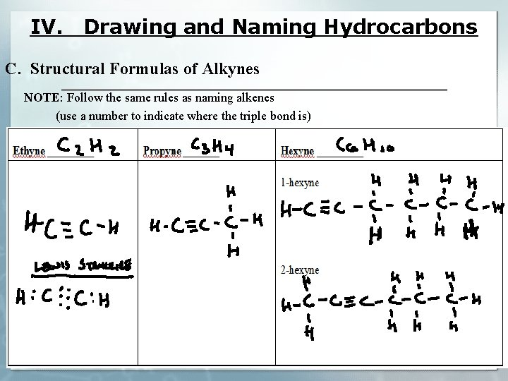 IV. Drawing and Naming Hydrocarbons C. Structural Formulas of Alkynes NOTE: Follow the same