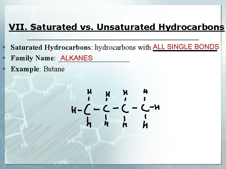 VII. Saturated vs. Unsaturated Hydrocarbons ALL SINGLE BONDS § Saturated Hydrocarbons: hydrocarbons with _________