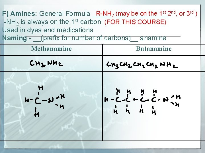 R-NH 2 (may be on the 1 st 2 nd, or 3 rd )