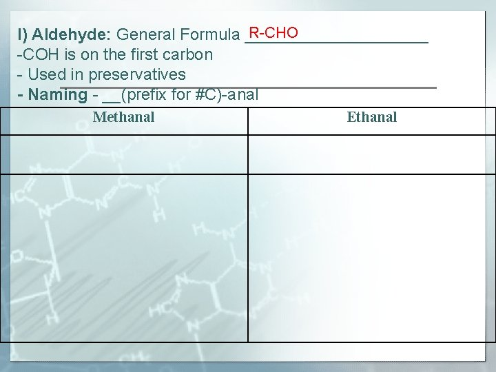 R-CHO I) Aldehyde: General Formula __________ -COH is on the first carbon - Used