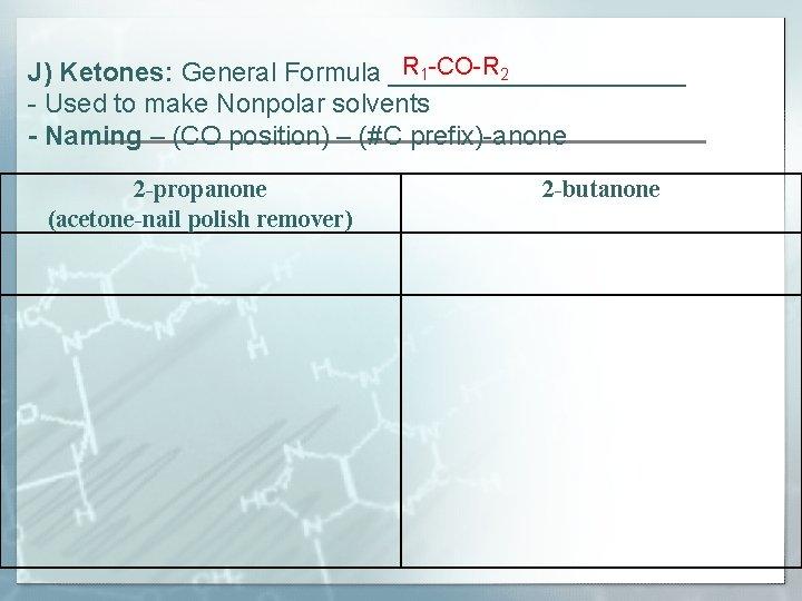 R 1 -CO-R 2 J) Ketones: General Formula __________ - Used to make Nonpolar