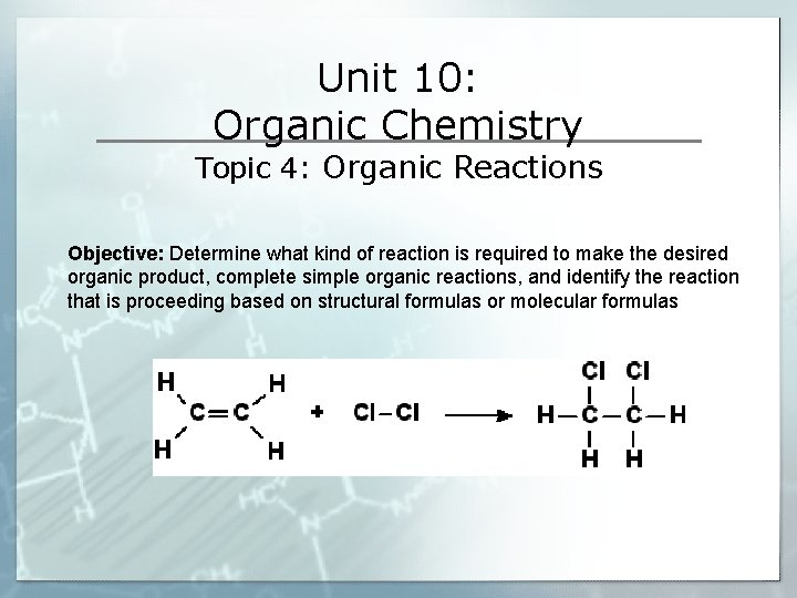 Unit 10: Organic Chemistry Topic 4: Organic Reactions Objective: Determine what kind of reaction