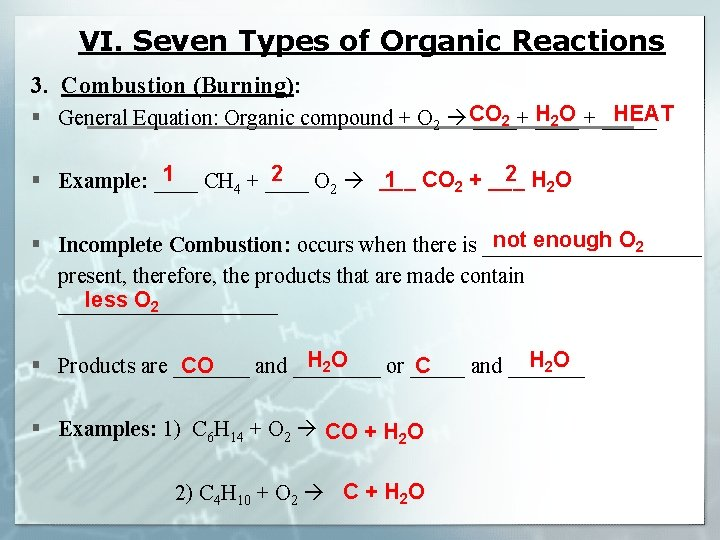 VI. Seven Types of Organic Reactions 3. Combustion (Burning): CO 2 H 2 O