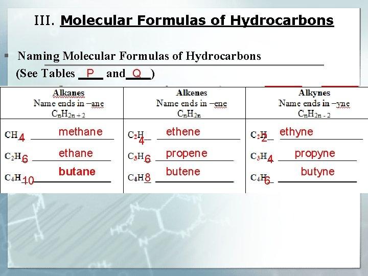 III. Molecular Formulas of Hydrocarbons § Naming Molecular Formulas of Hydrocarbons P Q (See