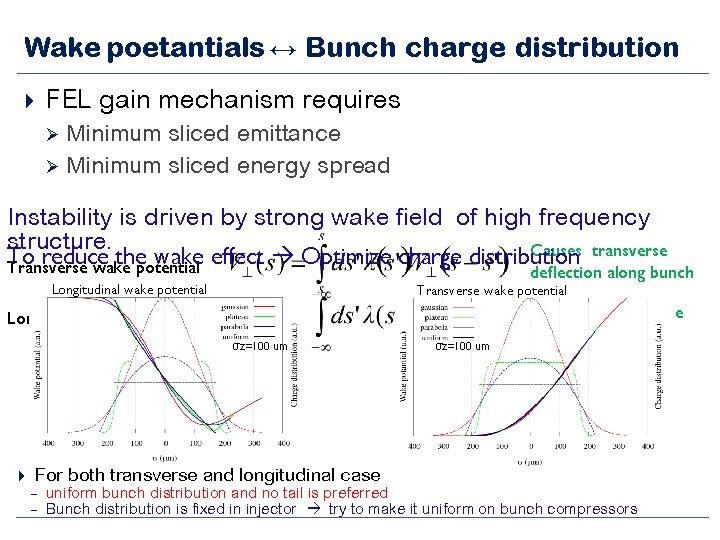 Wake poetantials ↔ Bunch charge distribution FEL gain mechanism requires Ø Ø Minimum sliced