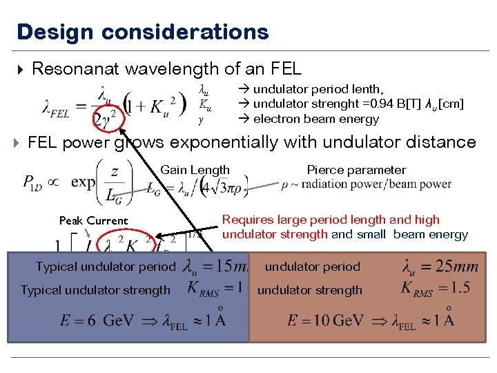 Design considerations Resonanat wavelength of an FEL undulator period lenth, undulator strenght =0. 94