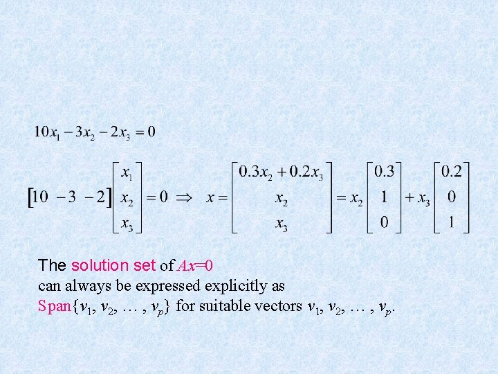 The solution set of Ax=0 can always be expressed explicitly as Span{v 1, v