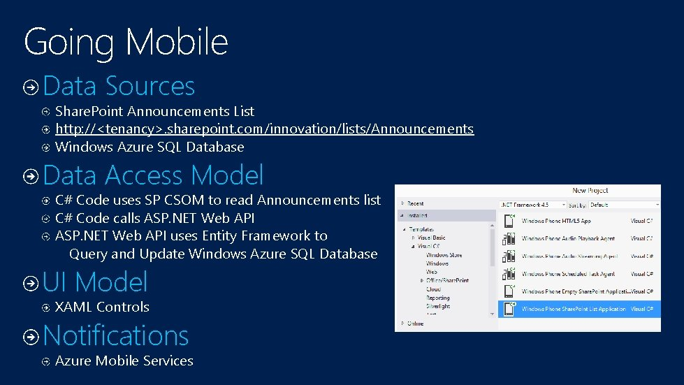 Going Mobile Data Sources Share. Point Announcements List http: //<tenancy>. sharepoint. com/innovation/lists/Announcements Windows Azure