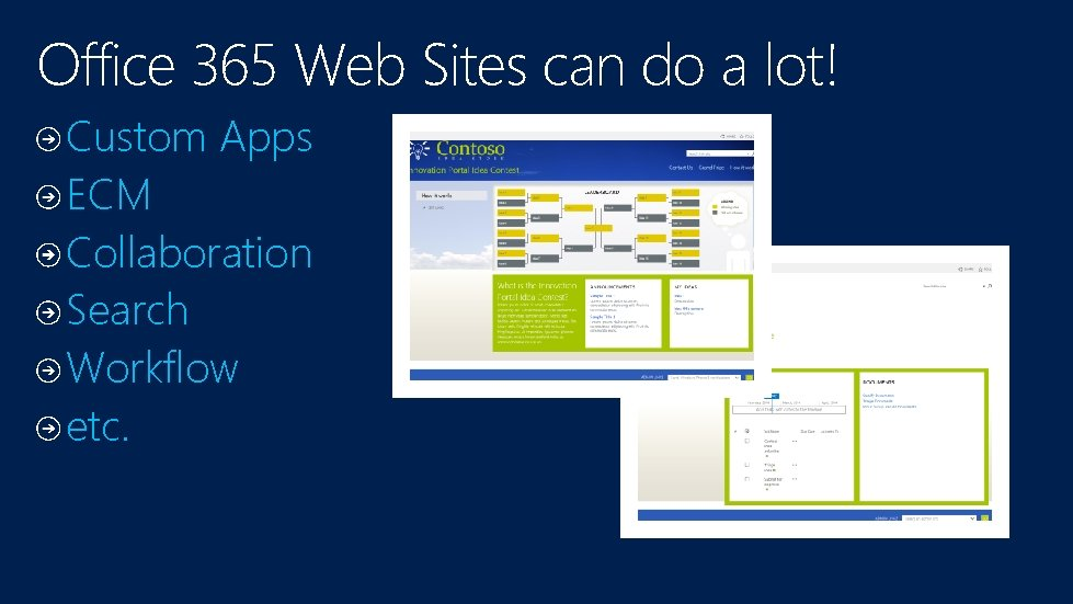 Office 365 Web Sites can do a lot! Custom Apps ECM Collaboration Search Workflow