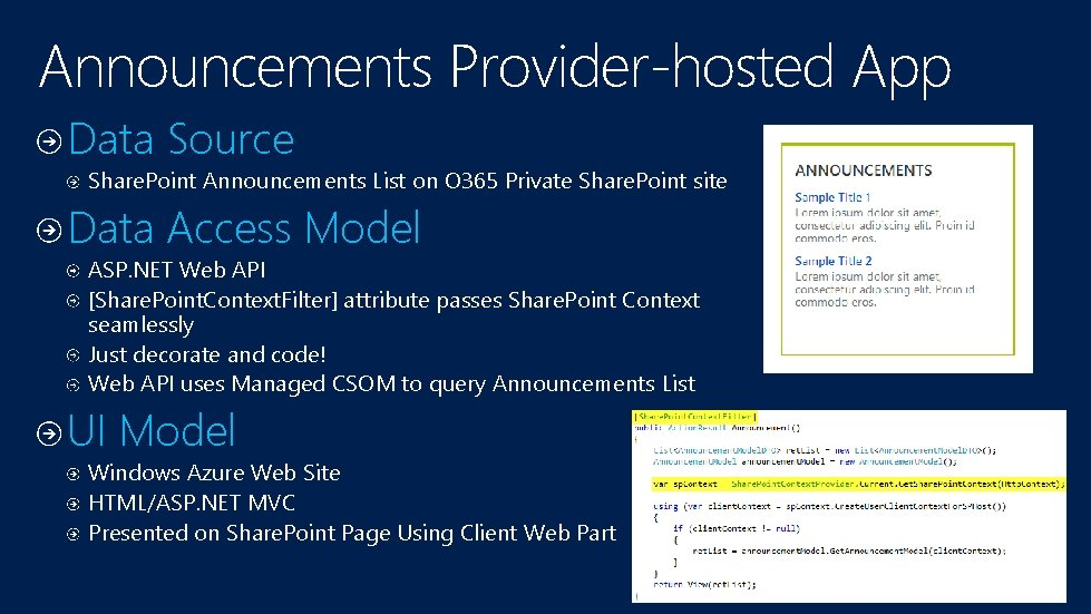 Announcements Provider-hosted App Data Source Share. Point Announcements List on O 365 Private Share.