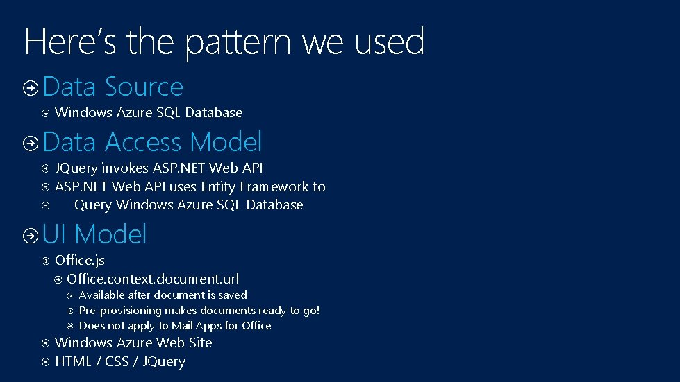 Here's the pattern we used Data Source Windows Azure SQL Database Data Access Model