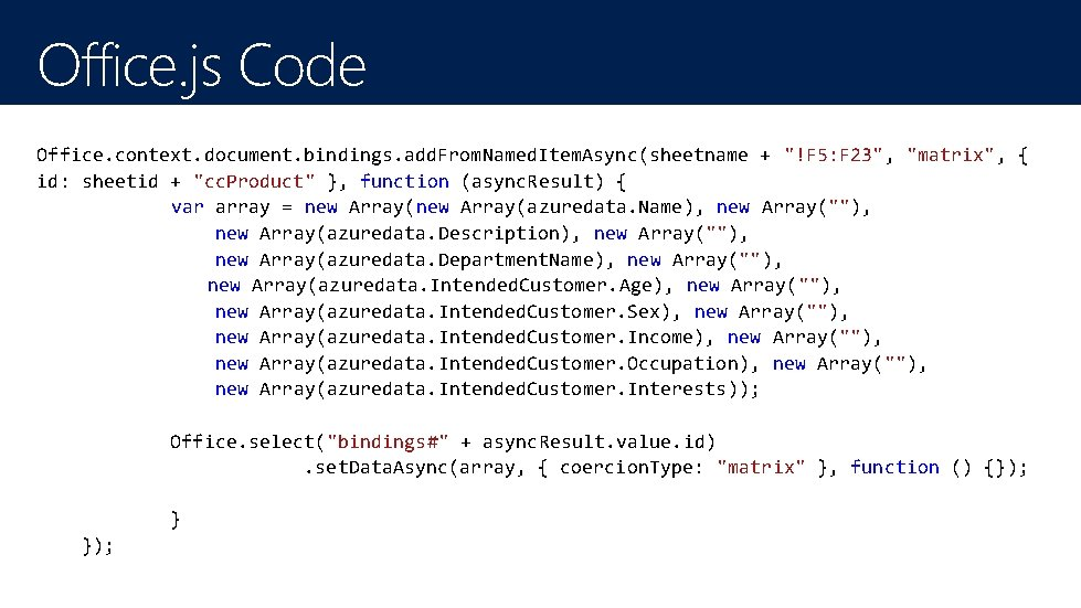 """Office. js Code Office. context. document. bindings. add. From. Named. Item. Async(sheetname + """"!F"""
