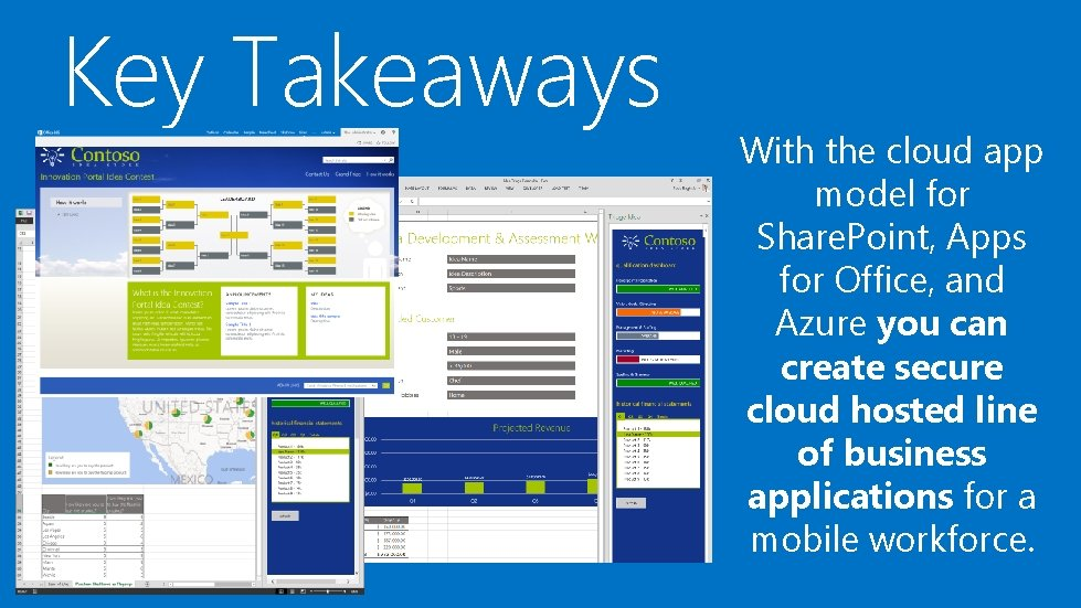 Key Takeaways With the cloud app model for Share. Point, Apps for Office, and