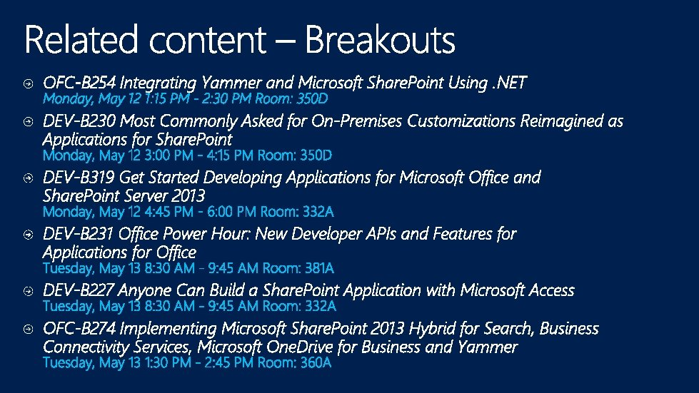 OFC-B 254 Integrating Yammer and Microsoft Share. Point Using. NET DEV-B 230 Most Commonly