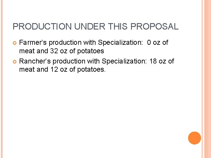 PRODUCTION UNDER THIS PROPOSAL Farmer's production with Specialization: 0 oz of meat and 32