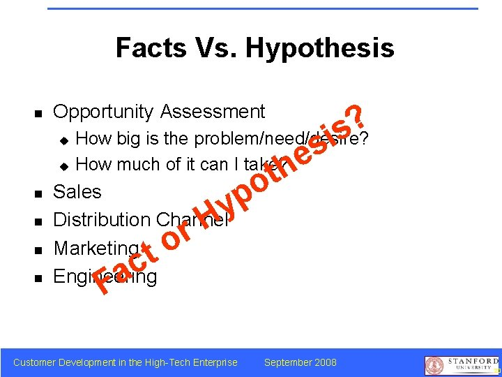 Facts Vs. Hypothesis n Opportunity Assessment ? s How big is the problem/need/desire? i