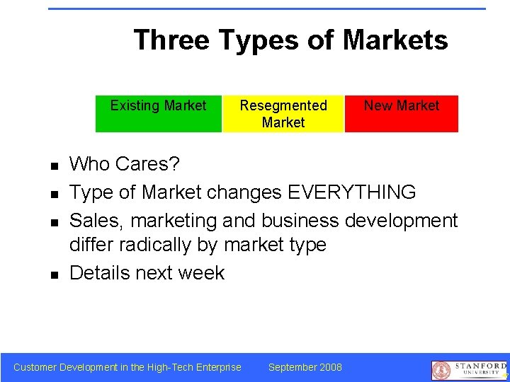 Three Types of Markets Existing Market n n Resegmented Market New Market Who Cares?