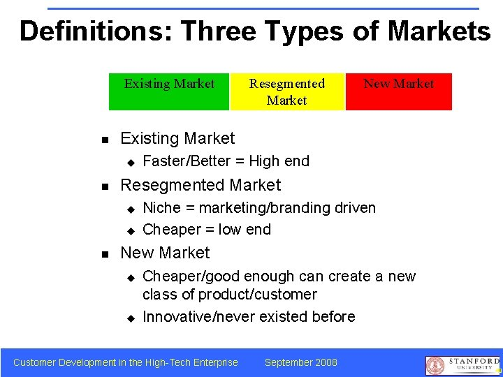 Definitions: Three Types of Markets Existing Market n Faster/Better = High end Resegmented Market