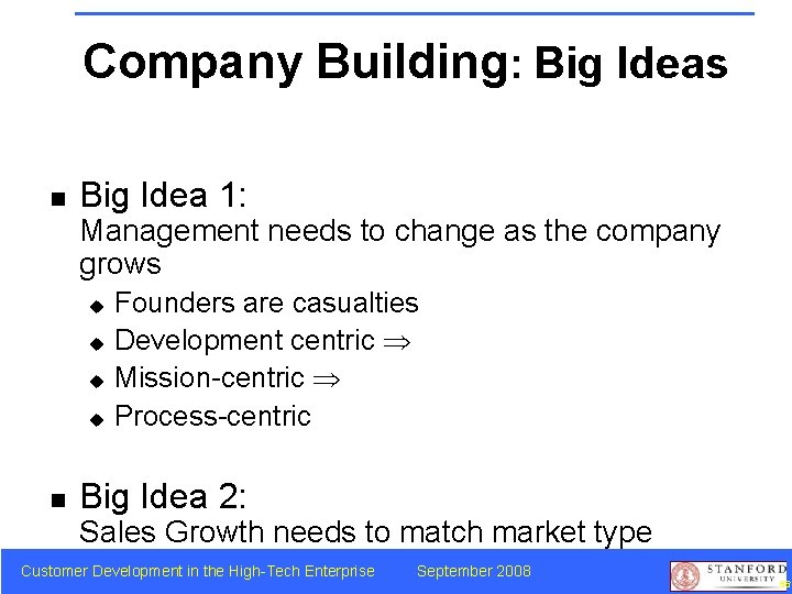 Company Building: Big Ideas n Big Idea 1: Management needs to change as the