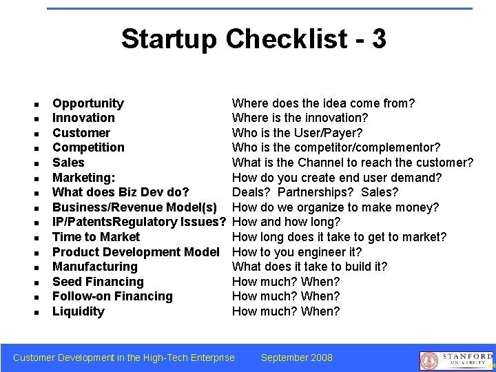 Startup Checklist - 3 n n n n Opportunity Innovation Customer Competition Sales Marketing: