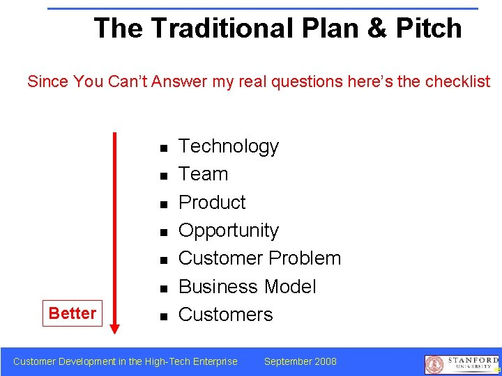 The Traditional Plan & Pitch Since You Can't Answer my real questions here's the