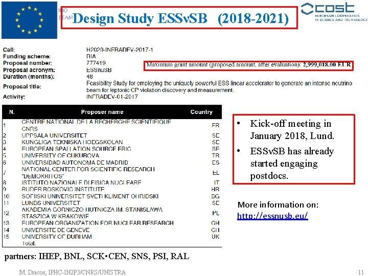 Design Study ESSνSB (2018 -2021) • Kick-off meeting in January 2018, Lund. • ESSνSB