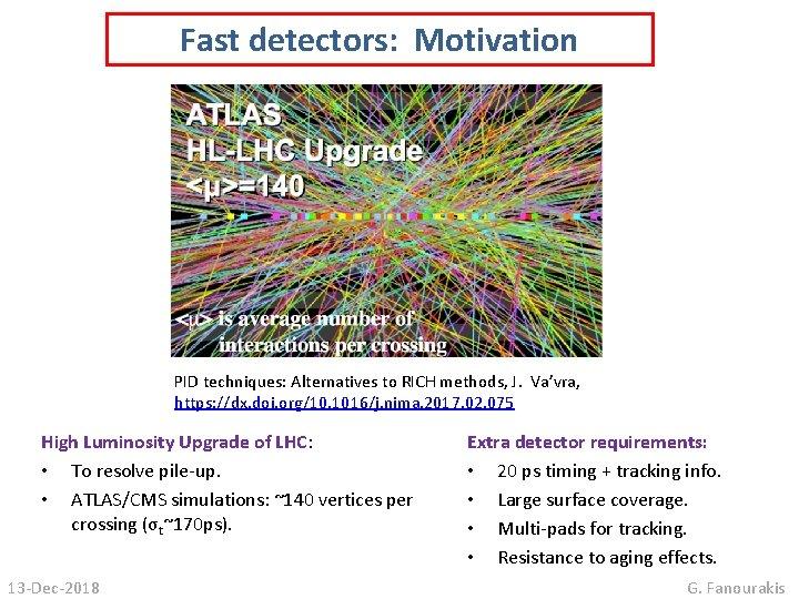 Fast detectors: Motivation PID techniques: Alternatives to RICH methods, J. Va'vra, https: //dx. doi.