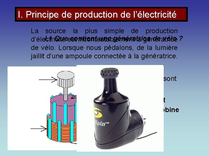 I. Principe de production de l'électricité La source la plus simple de production I.