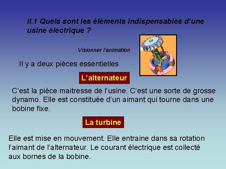 II. 1 Quels sont les éléments indispensables d'une usine électrique ? Visionner l'animation Il