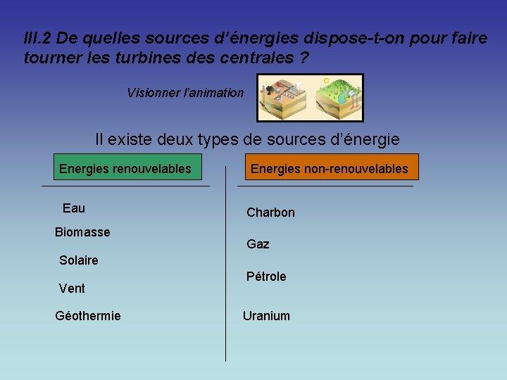 III. 2 De quelles sources d'énergies dispose-t-on pour faire tourner les turbines des centrales