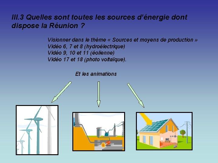 III. 3 Quelles sont toutes les sources d'énergie dont dispose la Réunion ? Visionner