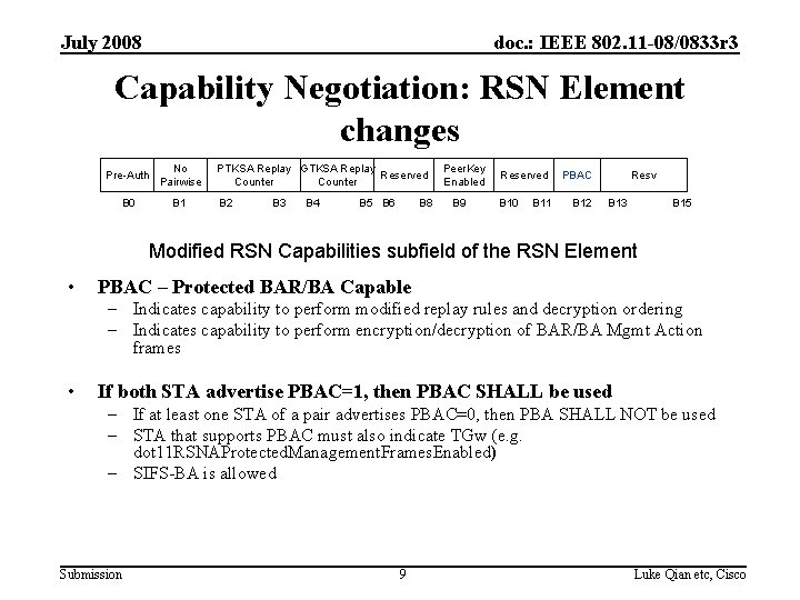 July 2008 doc. : IEEE 802. 11 -08/0833 r 3 Capability Negotiation: RSN Element