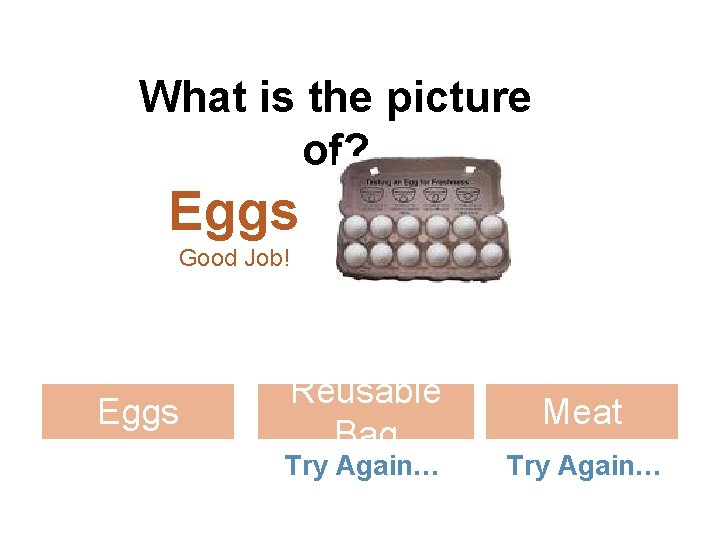 What is the picture of? Eggs Good Job! Eggs Reusable Bag Try Again… Meat