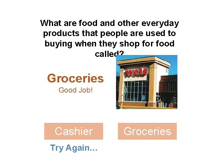 What are food and other everyday products that people are used to buying when